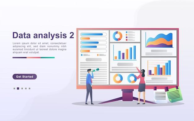 Gegevensanalyse concept. mensen analyseren grafiekbewegingen en bedrijfsontwikkeling. gegevensbeheer, auditing en rapportage.