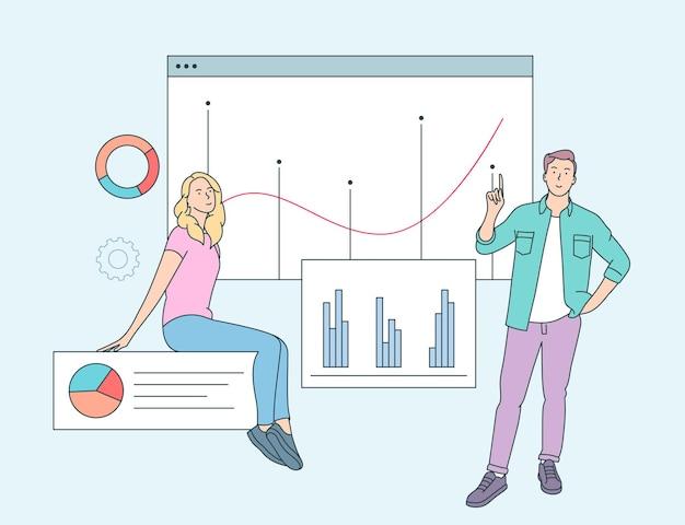 Gegevensanalyse concept. mensen zakenpartners werknemers analyseren financiële gegevens en marketinginformatiestatistieken. vlakke afbeelding