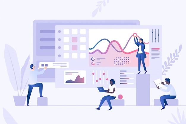 Gegevensanalyse concept vector sjabloon. infographics, statistieken, datavisualisatie 3d concept.