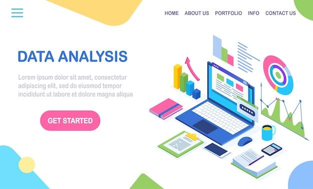 Gegevensanalyse. digitale financiële rapportage, seo, marketing. bedrijfsbeheer, ontwikkeling. isometrische laptop, computer, pc met grafiek, grafiek, statistiek. voor website
