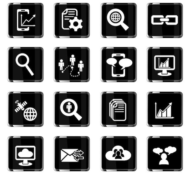Gegevensanalyse en sociale netwerkwebpictogrammen voor gebruikersinterfaceontwerp