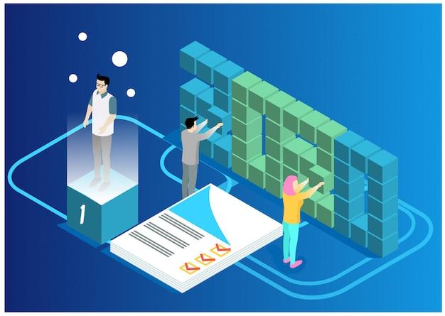 Gegevensanalyse en statistiek concept. bedrijfsanalyses, gegevensvisualisatie. technologie, internet en netwerkconcept. gegevens en investeringen