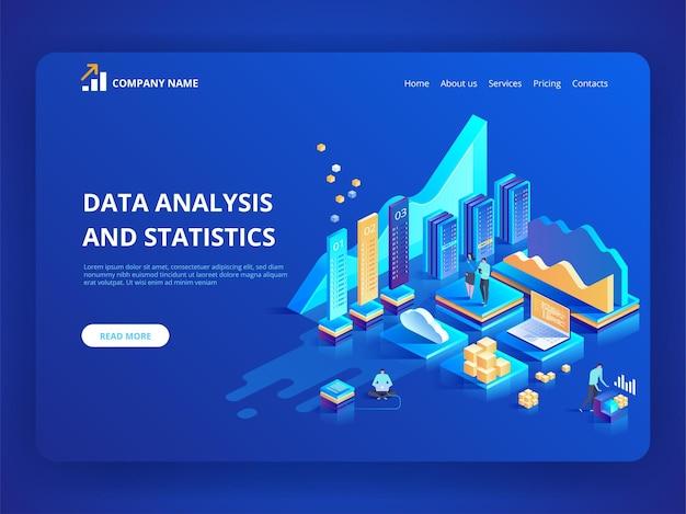 Gegevensanalyse en statistieken concept. isometrische illustratie bedrijfsanalyses, gegevensvisualisatie.