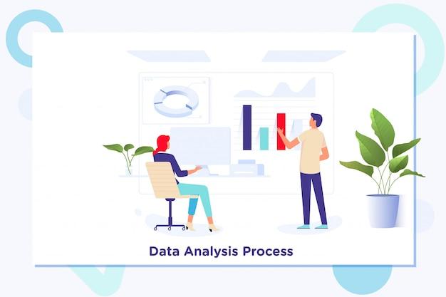 Gegevensanalyse statistieken technologie-informatieconcept