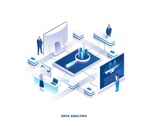 Gegevensanalyse, statistische of financiële analyse isometrische concept