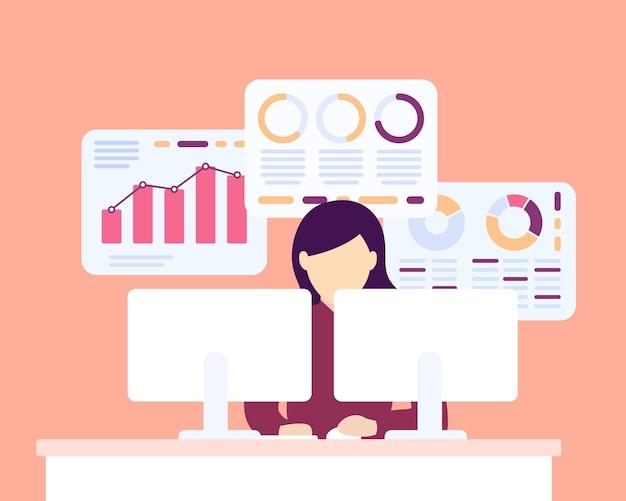 Gegevensanalyse, vrouw die met bedrijfsgegevens werkt