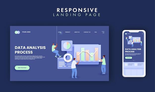 Gegevensanalyseproces landingspaginaontwerp met zakelijke medewerkers die een grafiek bijhouden