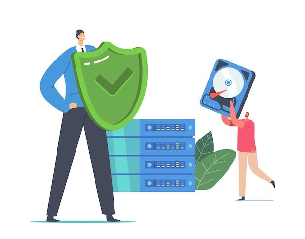 Gegevensback-up moderne technologieën, raid-concept. tiny programmeurs tekens met schild en harde schijf bij enorm computerblok in serverruimte, digitale gegevensbescherming. cartoon mensen vectorillustratie
