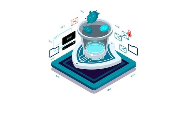 Gegevensbescherming, antivirussysteem, bescherming tegen kwaadaardige programma's en applicaties.