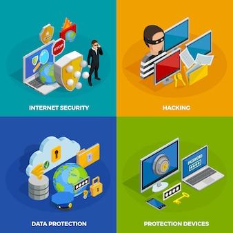 Gegevensbescherming concept icons set