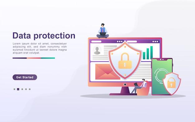 Gegevensbescherming concept. mensen beveiligen gegevensbeheer en beschermen gegevens tegen aanvallen van hackers. maak een back-up en sla belangrijke gegevens op