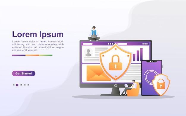 Gegevensbescherming concept. mensen beveiligen gegevensbeheer en beschermen gegevens tegen aanvallen van hackers. maak een back-up van belangrijke gegevens en sla deze op. kan gebruiken voor web-bestemmingspagina, banner, mobiele app.