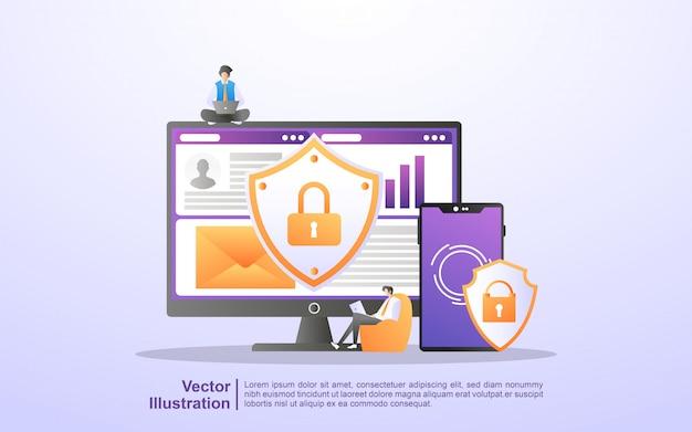 Gegevensbescherming concept. mensen beveiligen gegevensbeheer en beschermen gegevens tegen aanvallen van hackers.