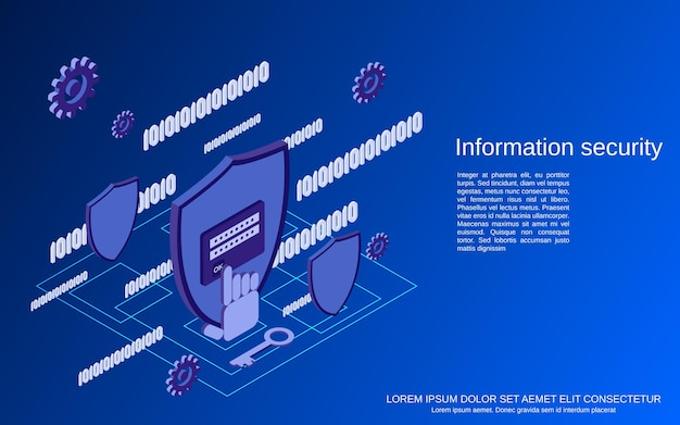 Gegevensbescherming, informatiebeveiliging plat isometrische concept illustratie