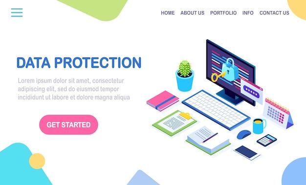 Gegevensbescherming. internetbeveiliging, privacytoegang met wachtwoord. isometrische computer pc met sleutel, slot.