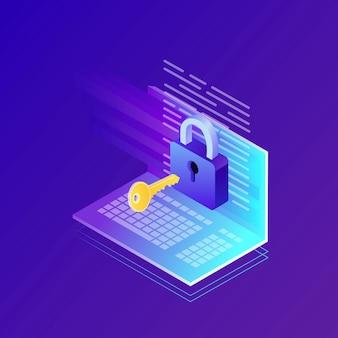 Gegevensbescherming. internetbeveiliging, privacytoegang met wachtwoord. isometrische computer, sleutel, slot