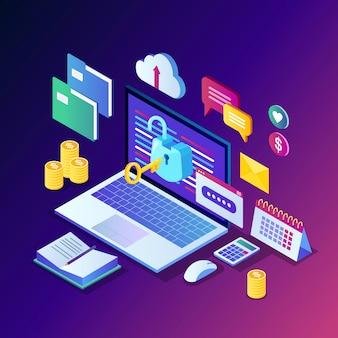 Gegevensbescherming. internetbeveiliging, privacytoegang met wachtwoord. isometrische computerpc met sleutel, open slot, map, wolk, documenten, laptop, geld.