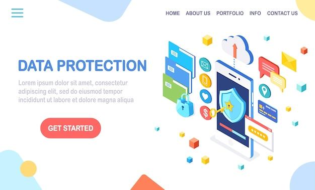 Gegevensbescherming. internetbeveiliging, privacytoegang met wachtwoord. isometrische mobiele telefoon met sleutel, schild, slot, map, wolk, documenten, creditcard, geld, bericht.