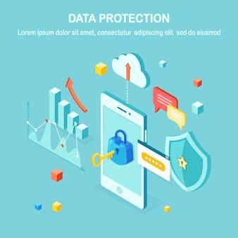 Gegevensbescherming. internetbeveiliging, privacytoegang met wachtwoord. isometrische mobiele telefoon met sleutel, slot, schild, wolk, tekstballon, smartphone, geld, grafiek, grafiek.