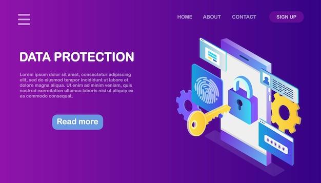 Gegevensbescherming. internetbeveiliging, privacytoegang met wachtwoord. isometrische telefoon met sleutel, slot