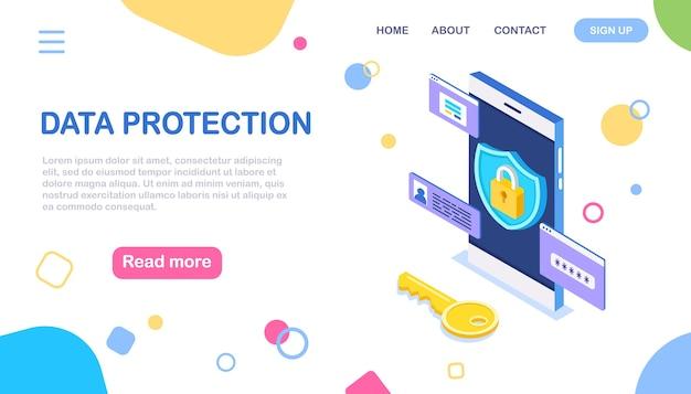 Gegevensbescherming. internetbeveiliging, privacytoegang met wachtwoord. isometrische telefoon, sleutel, slotschild
