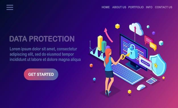 Gegevensbescherming. internetbeveiliging, privacytoegang met wachtwoord isometrische vrouw, computer met slot