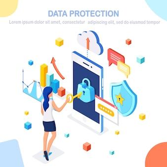 Gegevensbescherming. internetbeveiliging, privacytoegang met wachtwoord. isometrische vrouw, telefoon met slot