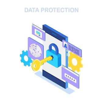 Gegevensbescherming. internetbeveiliging, privacytoegang met wachtwoord.