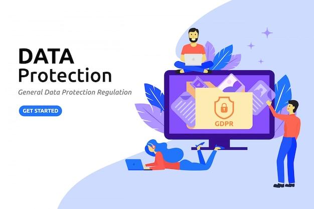 Gegevensbescherming moderne platte ontwerpconcept. online gegevens beschermen
