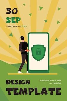 Gegevensbescherming op mobiele telefoon. hacker steelt persoonlijke gegevens platte flyer-sjabloon