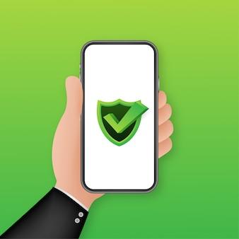 Gegevensbescherming op smartphone, privacy en internetbeveiliging. illustratie.