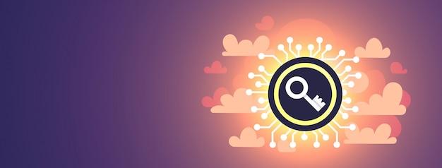 Gegevensbescherming privacy online virtuele cloud internet informatie netwerk beveiliging concept digitale printplaat sleutel toegang horizontaal