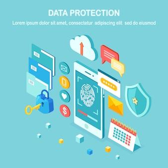 Gegevensbescherming. scan vingerafdruk naar mobiele telefoon. beveiligingssysteem voor smartphone-id. digitale handtekening. biometrische identificatietechnologie, persoonlijke toegang. isometrisch slot, sleutel, schild.