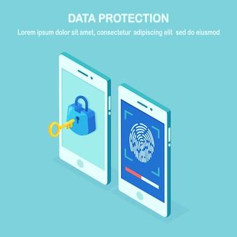 Gegevensbescherming. scan vingerafdruk naar mobiele telefoon. beveiligingssysteem voor smartphone-id. digitale handtekening concept. biometrische identificatietechnologie, persoonlijke toegang. isometrische telefoon