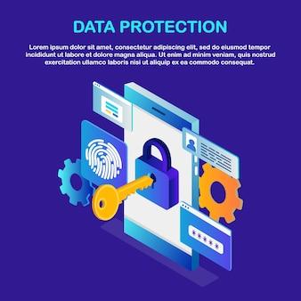 Gegevensbescherming. scan vingerafdruk. smartphone-id-beveiligingssysteem biometrische identificatietechnologie