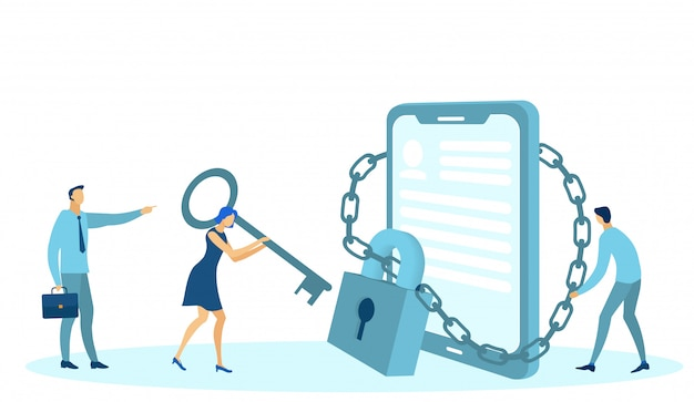 Gegevensbescherming sociale media, vergrendelde telefoongadget.
