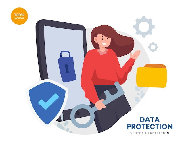 Gegevensbeschermingsconcept met de zakenvrouw voor veiligheidstechnologie met symbolisch hangslot en schild.