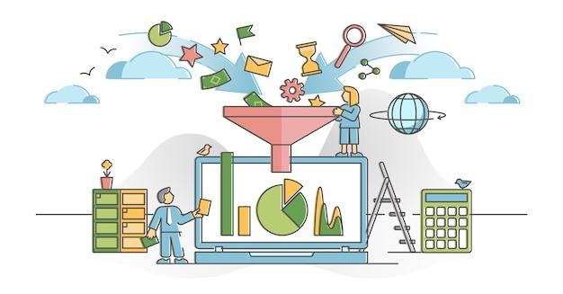 Gegevensfilter met informatiestroomanalyse en beheerconcept. selectie en optimalisatie van bedrijfsgegevens voor een beter resultaat en een beter begrip van de illustratie. verwerken van bestanden.