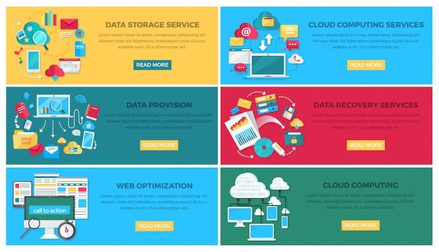 Gegevensopslag en cloud computing-services, gegevensverstrekking en recovery-services, web-optimalisatie vector webbanner