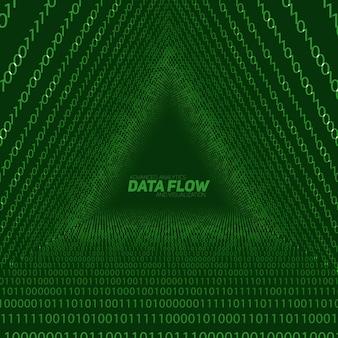 Gegevensstroom visualisatie achtergrond. driehoekstunnel van groene big data-stroom