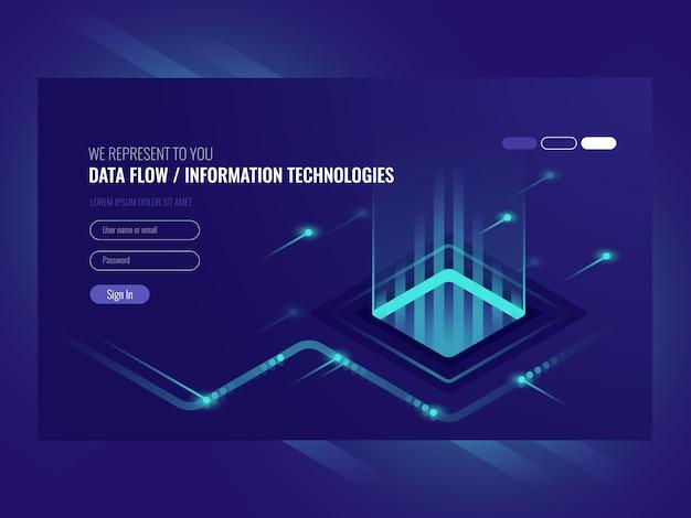 Gegevensstroomconcept, informatietechnologie, concept hallo technologie