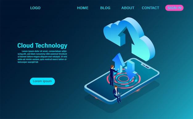 Gegevenstechnologie met informatie-uitwisseling tussen de mobiele en de cloud-bestemmingspagina