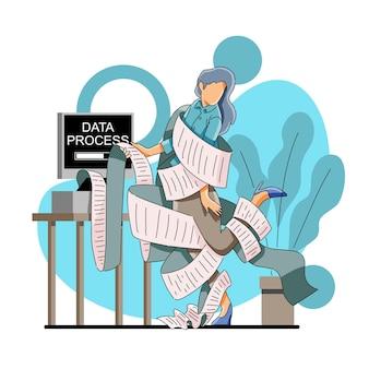 Gegevensverwerking of gegevensrapportconcept