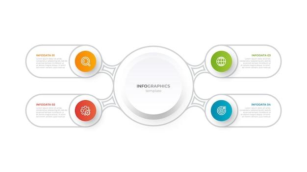 Gegevensvisualisatie zakelijke infographic sjabloon met 4 opties