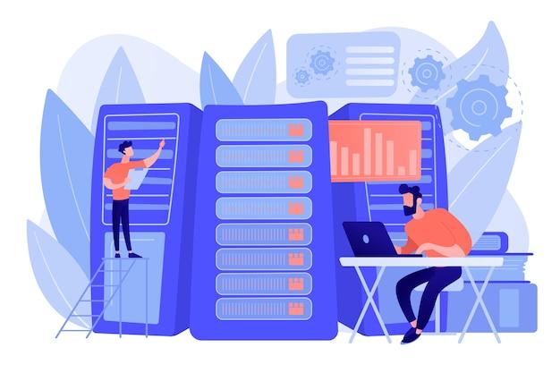 Gegevenswetenschapper, gegevensanalysemanager, databaseontwikkelaar en beheerder aan het werk. big data-baan, database-ontwikkelaars, carrières in big data-concept