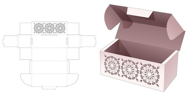 Gegolfde flip- en vergrendelde puntdoos met verborgen gestencilde mandala gestanste sjabloon