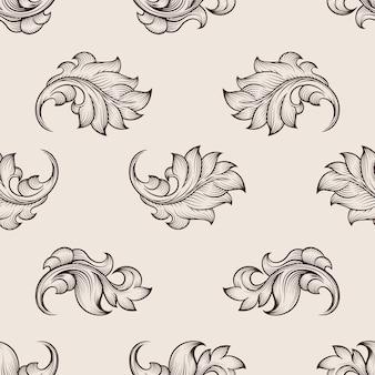 Gegraveerd bloemmotief. herhaling bloemen naadloze achtergrond, bloemendecor achtergrond, bloemen ornament vectorillustratie