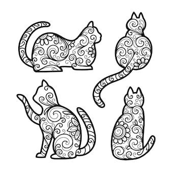 Gegraveerd set decoratieve katten