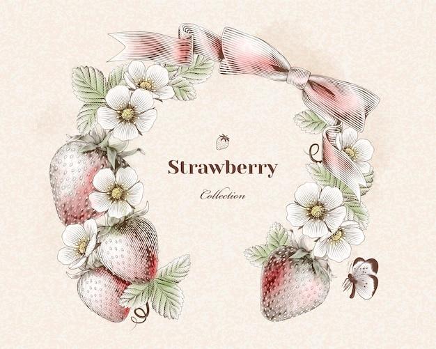 Gegraveerde aardbeien- en bloemenkrans voor ontwerpgebruik, kleurrijke versie