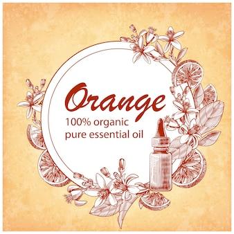 Gegraveerde etherische olie met oranje fruit, bladeren en bloeiende bloemen. hand getrokken van glazen druppelflesje met citrus aurantium. label voor cosmetica, geneeskunde, behandeling, aromatherapie, pakketontwerp.
